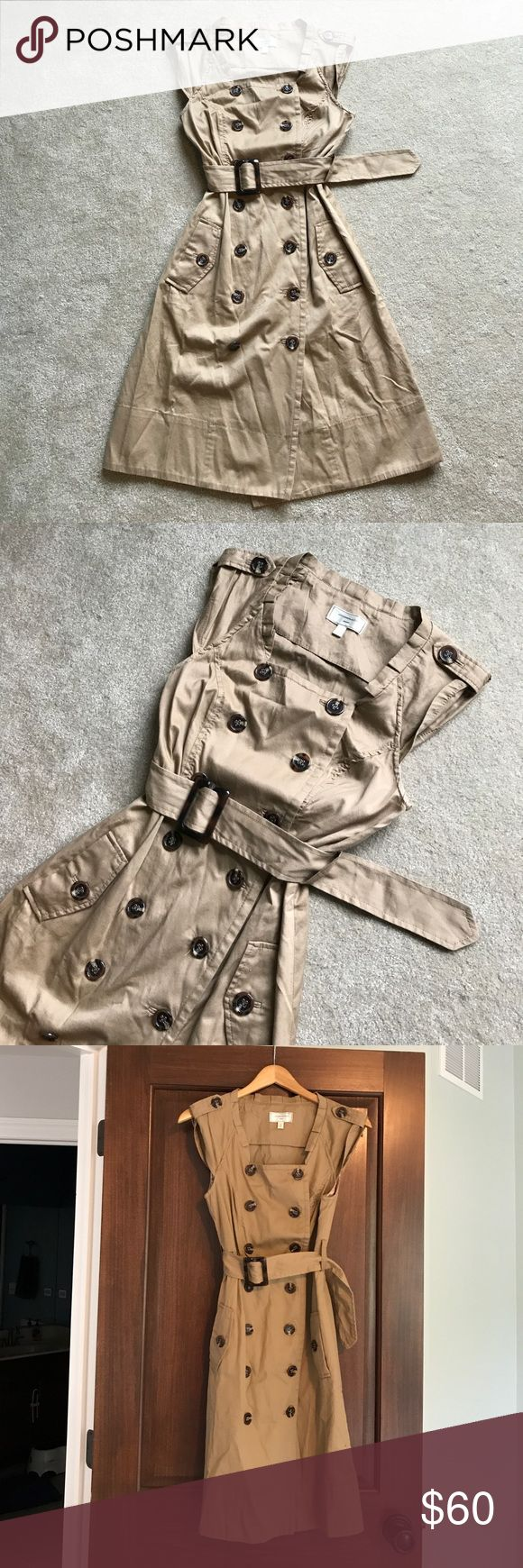 Designer Trench Coat Dress Adorable French trench coat dress. Pretty floral lining in pockets and at roll tab sleeves. Very well made. 100% cotton. EUC. Moulinette Soeurs Dresses Midi