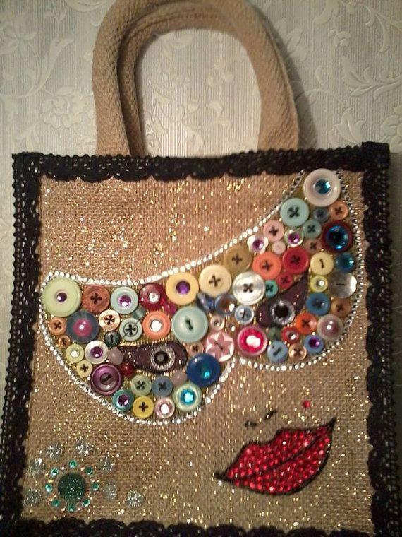 Botón máscara mascarada bolsa Día de la Madre Yute por ButtonWoodsJuteBags