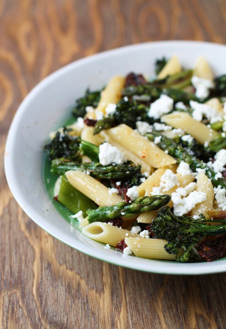 Pasta With Goat Cheese And Roasted Asparagus Recipe — Dishmaps