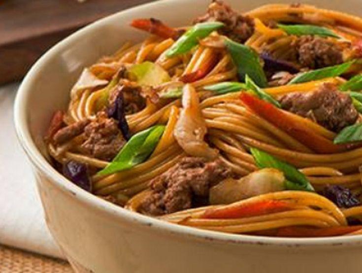 Recette : Spaghettini à la viande et légumes sautés.