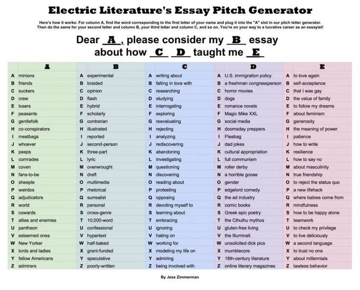 Write The Perfect Personal Essay Pitch With Our Handy Chart Electric Literature Myself Essay Essay Generator Essay