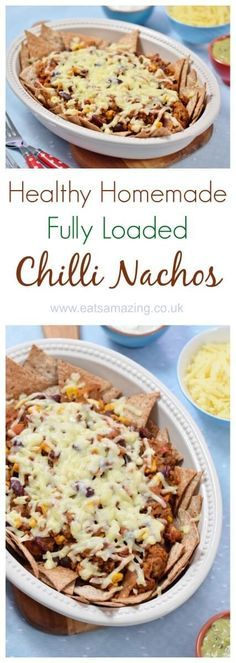 Absolutely delicious healthy chilli nachos recipe with tons of hidden veg - with homemade tortilla crisps recipe too - Eats Amazing UK