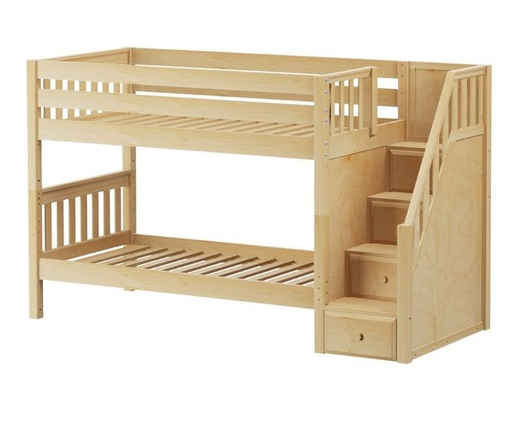 Maxtrix STACKER Low Bunk Bed With Stairs Twin Size Natural | Maxtrix  Furniture | MX