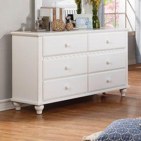 Homelegance Emmaline White Rubberwood 6-Drawer Double Dresser 2019W-5