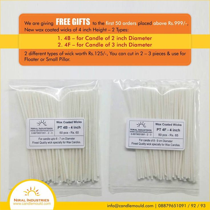 We welcome you to our new E-commerce website where many new features and offers are added. We had received good business from our last E-commerce website thanks to all our customers.  We are giving FREE GIFTS to the first 50 orders placed above Rs.999/-, New wax coated wicks of 4 inch Height – 2 Types:  4B – for Candle of 2 inch Diameter 4F – for Candle of 3 inch Diameter 2 different types of wick worth Rs.125/-,You can cut in 2 – 3 pieces and use for Floater or Small Pillar.  Call Us…