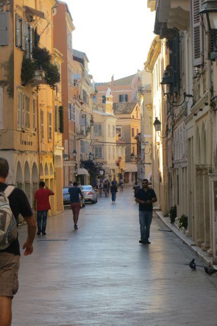 The marble streets of Corfu, Greece.