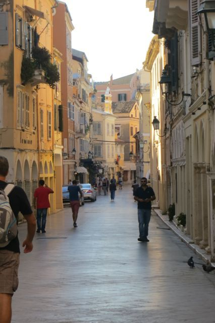 The marble streets of Corfu, Greece.