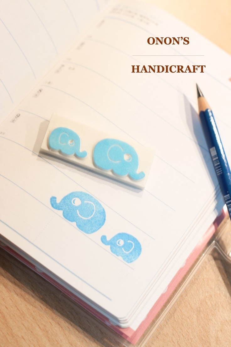 Hand Carved Elephant Mother and Son Rubber Stamp (Made to Order). $8.00, via Etsy.
