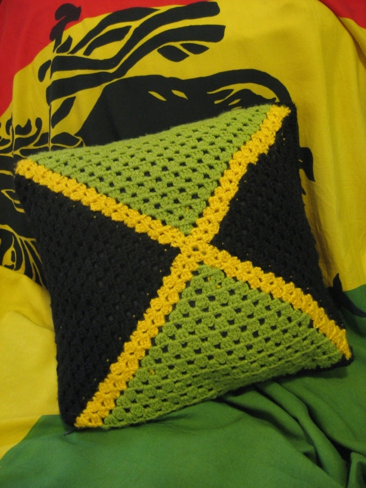 Crochet rasta pillowcase