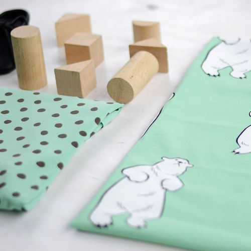 TALVINALLE, vihreä | New NOSH fabric collection for Winter 2016! Get inspired from polar bears and pastel colors. Shop this new fabric collection at en.nosh.fi