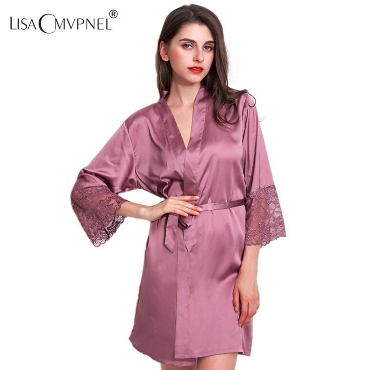 Lisacmvpnel Rayon Lace Women Robe Half Sleeve Loose Female Bathrobe Women Casual Nightwear