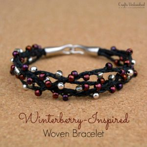Winterberry-Inspired Woven Bracelet with Beads