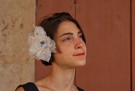 Rosa in Organza di Seta pura Avorio con di RinaldelliModisteria