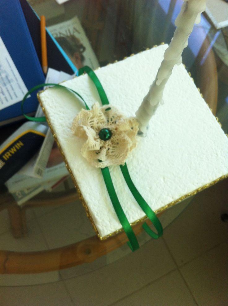 Bracelet -vintage lace and green satin