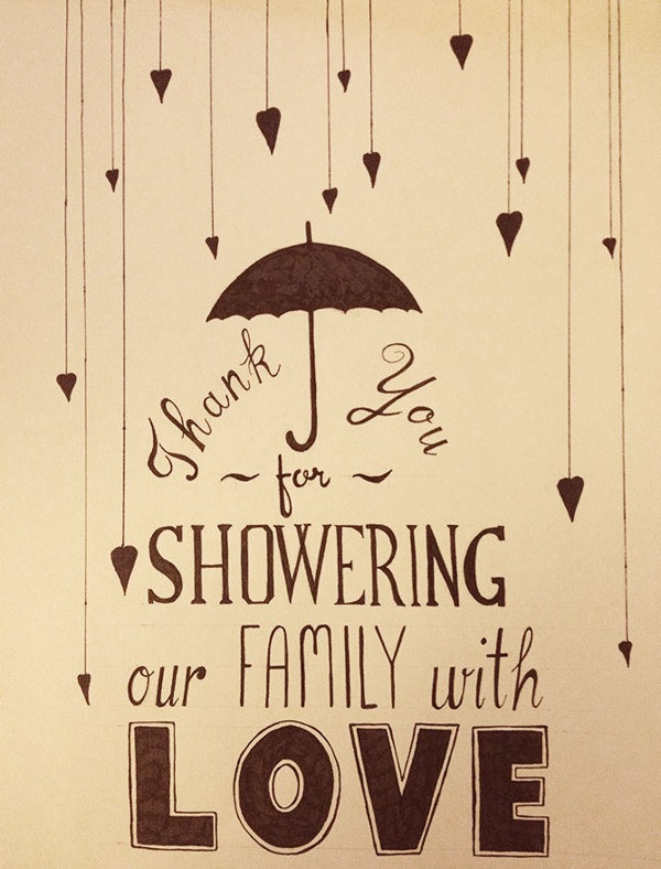 handlettering - love the stringed hearts...could be used for any shower thank you notes...