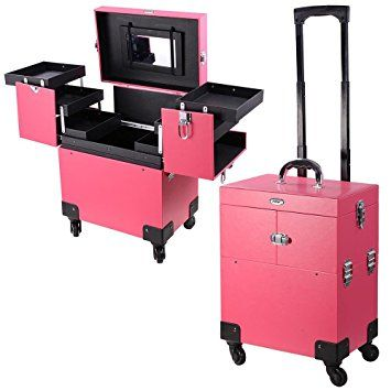 AW Pink 4 Rolling Wheel 14x9x17 PVC Artist Makeup Cosmetic Train Case Lockable Box Review
