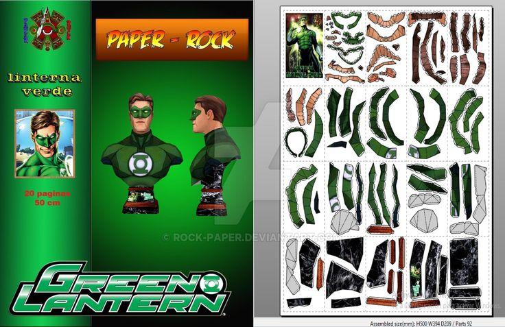 """""""Nuevo modelo"""" Busto Linterna verde, 20 paginas, Dificultad: medio, Medida:50 cm, Se abre con pepakura viewer 4 papercraftrock.wixsite.com/pap…"""