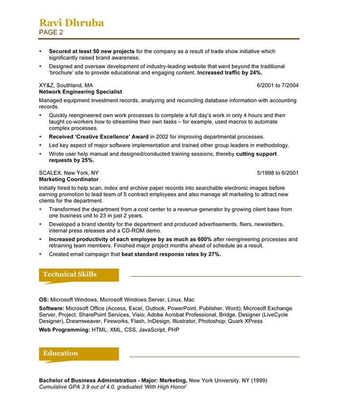Searchable resume format