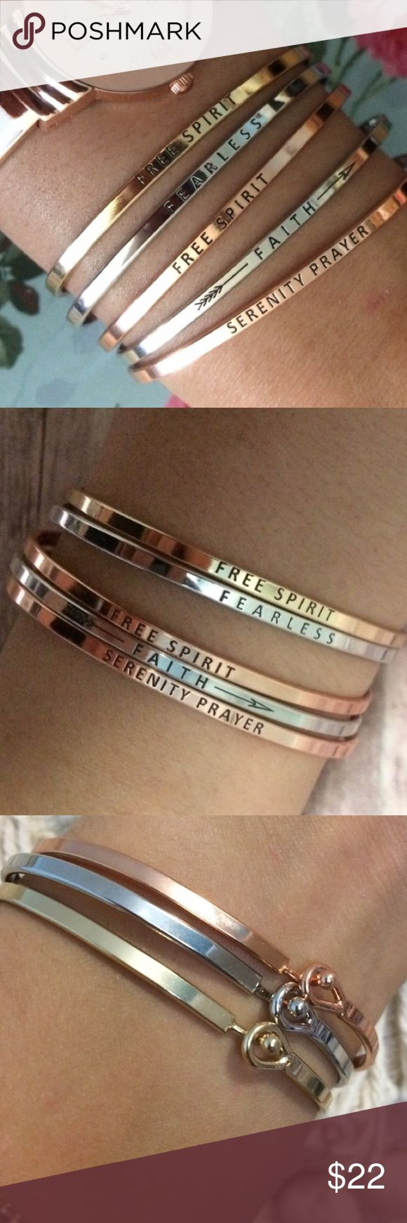 Serenity Prayer gold message bracelet bangle Serenity Prayer message bracelet bangle. Comes in gold or rose gold. Other messages also available. Clasps in back. Brass, plated with gold. If you want to bundle with other message bracelets they ar available at a discounted rate. 💌fast shipping guaranteed💌 Jewelry Bracelets