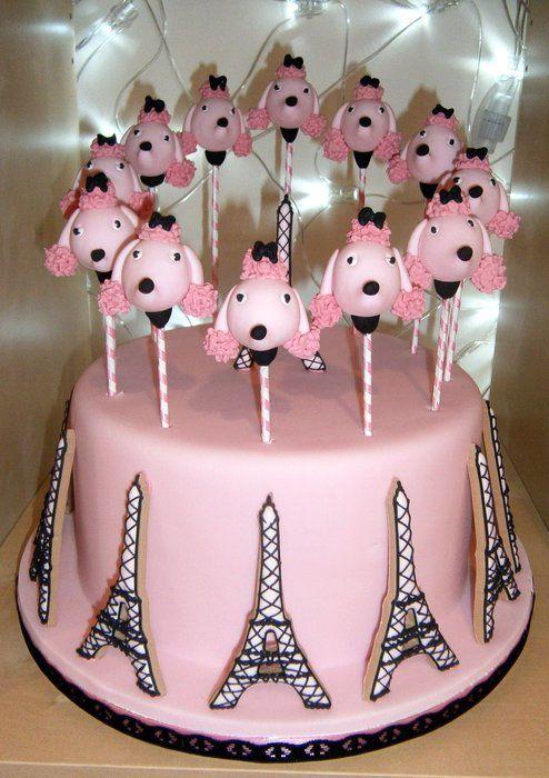 Paris Poodle cake-pop and cookie cake