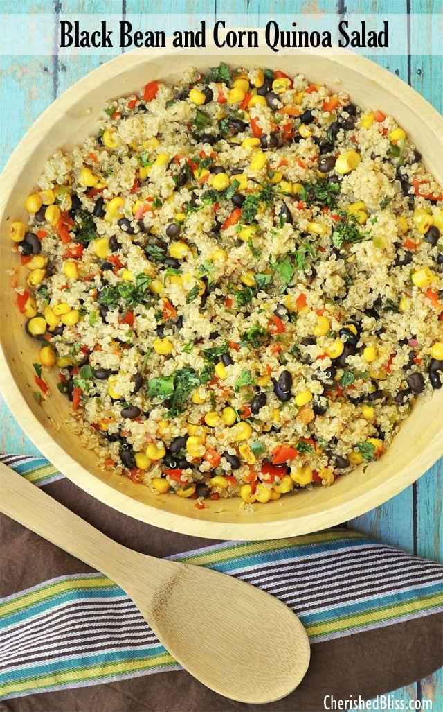 Warm Black Bean and Corn Quinoa Salad   Print Author: Audra Serves: 8 Ingredients 1½ cups uncooked quinoa 3 cups vegetable broth 3 TBSP oli...