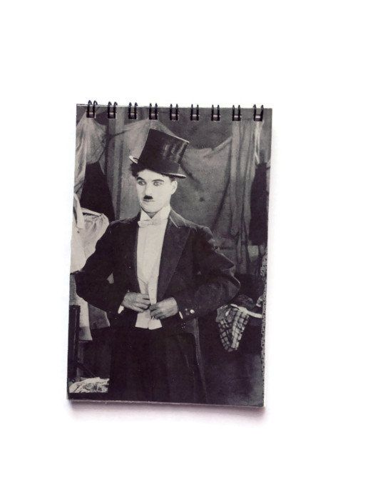 CHARLIE CHAPLIN reworked note book Free UK Postage by FuNkTjUnK