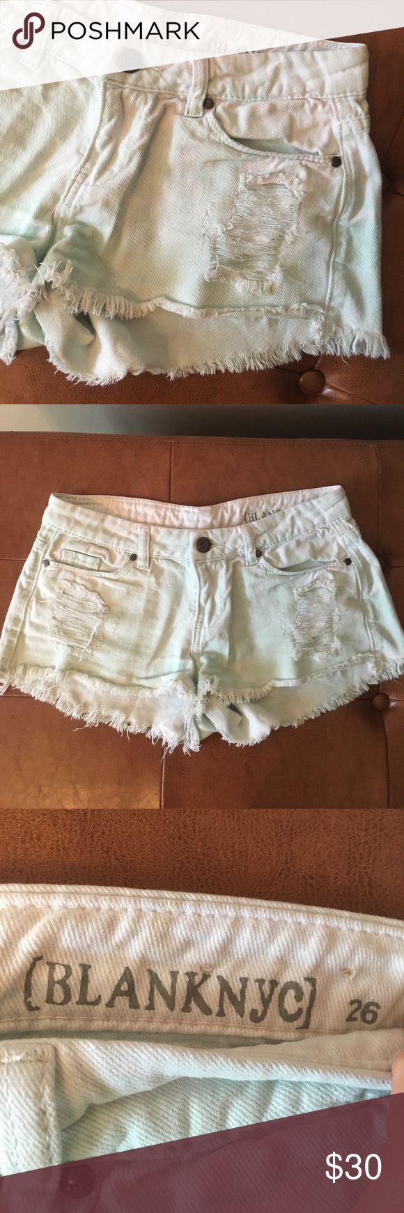 BLANK Denim Shorts BLANK size 26 good condition Denim shorts. Mostly white with a light green / tealish wash to them. Blank NYC Shorts Jean Shorts