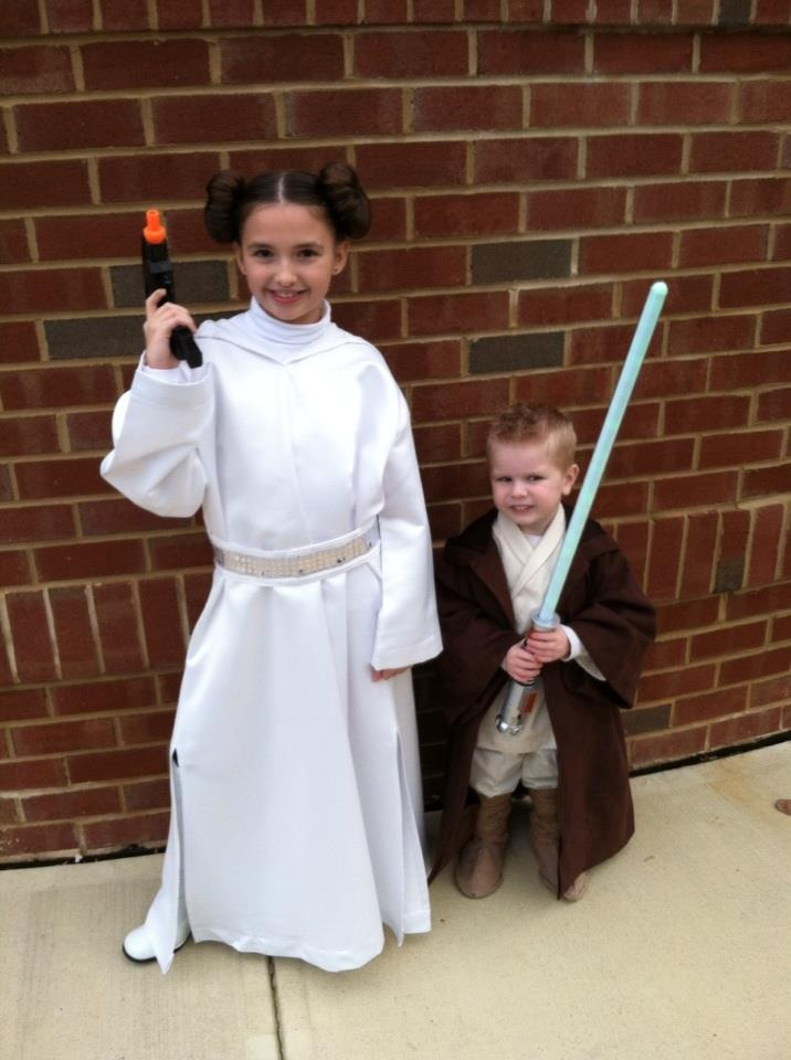Princess Leia and Luke Skywalker costumes I made for my Grandkids!  My Daughter-in-law did a fabulous job on Princess Leia's hair!