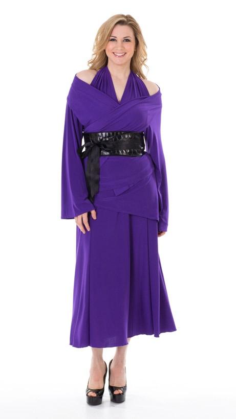 """Purple """"Fun Dress"""", Cardi-Wrap, and OBI belt.  www.turbine.ca"""