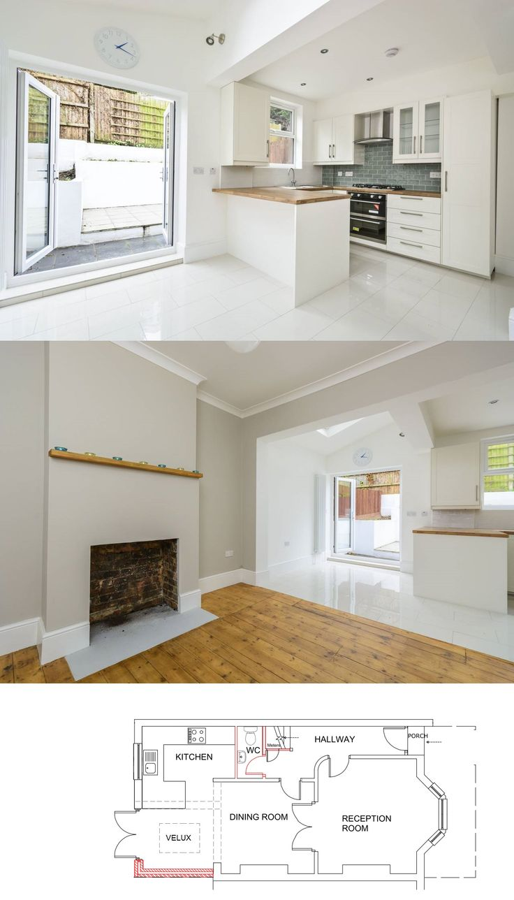 Small side return extension plus opening up the dining for Kitchen ideas terraced house