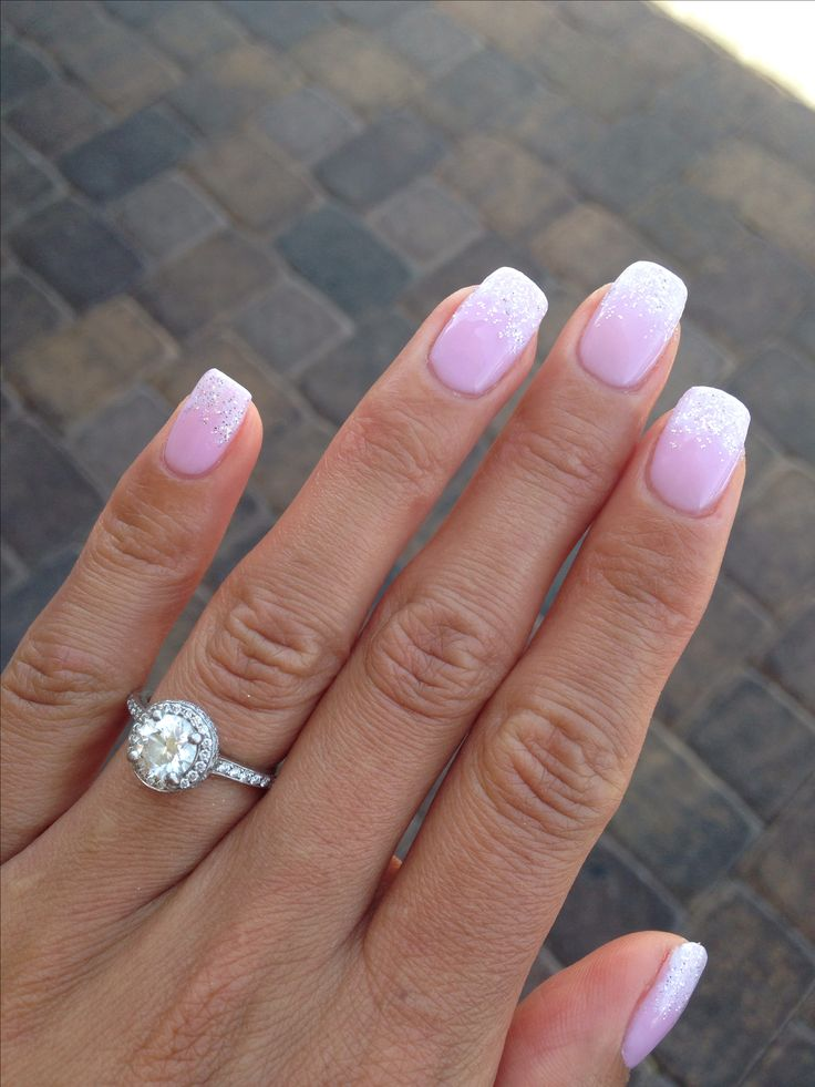 Wedding day nails - pink and white french manicure with white diamond fade