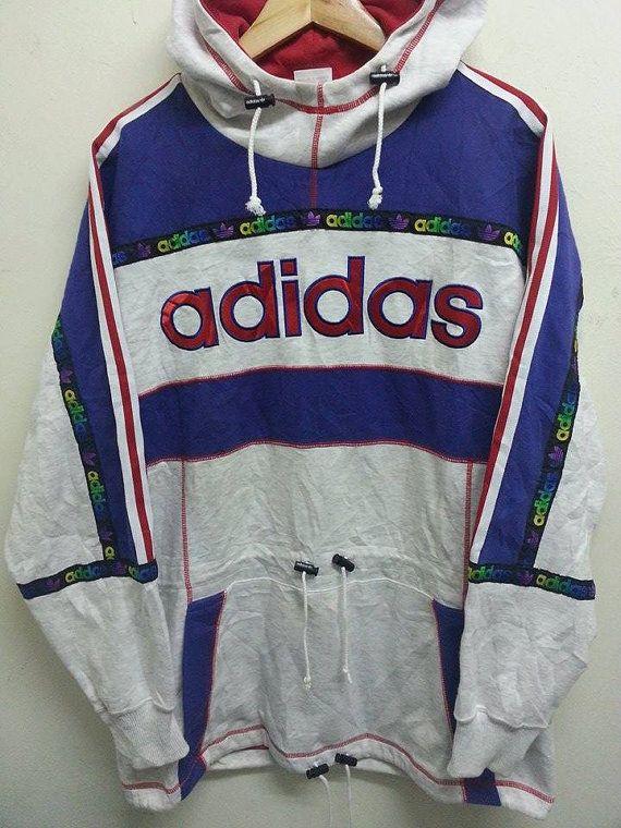 Vintage 1980s 90s Adidas Trefoil Neon Multicolour Sweater Style Hip Hop Run Dmc…