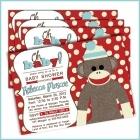 monkey baby shower ideas for boys | Sock Monkey Baby shower invitations