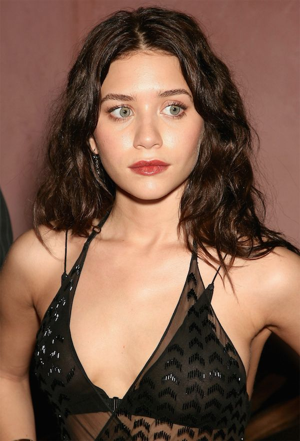 Ashley Olsen With Dark Brown Hair And Bright Red Lipstick