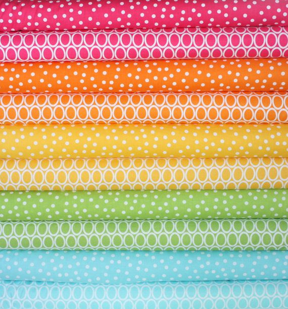 Super Spring Remix Polka Dots quilt or craft fabric bundle by Ann Kelle for Robert Kaufman- Fat Quarter Bundle, 10 total on Etsy, $30.00