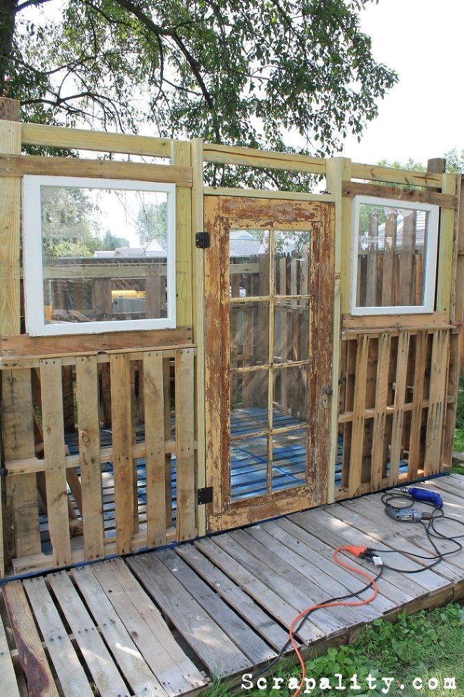 Hometalk | Pallet Shed Using Pallets, Old Windows & Tin Cans