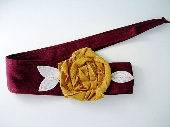 Maroon with Gold rosette headband head wrap by OurPlaceToNest, $16.00 #ArizonaState #TXST #handmadebot