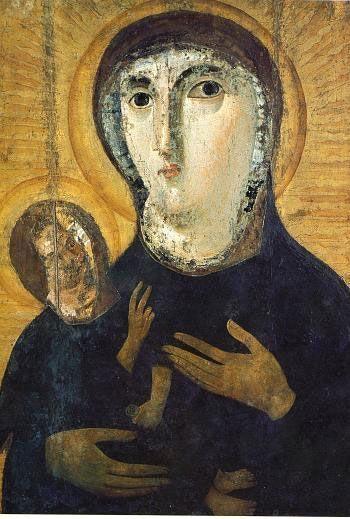 Икона Богоматери из церкви Санта Мария Антиква. Рим, ц-вь Санта Франческа Романа Рим 7 в.