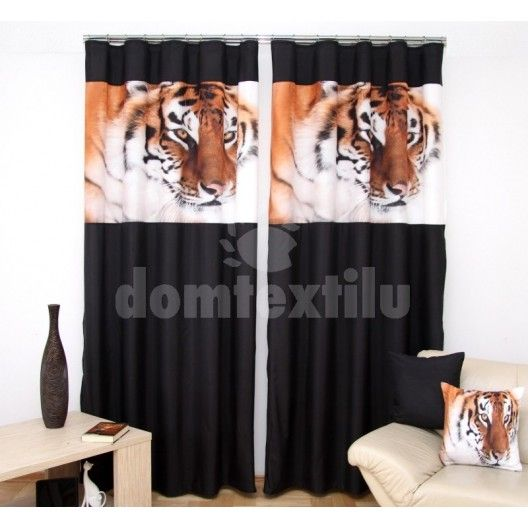 3D čierne závesy do obývačky s hlavou tigra