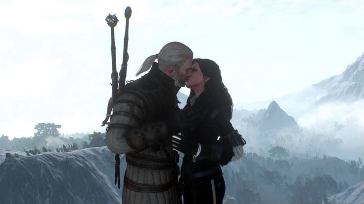 The Witcher 3 - Kiss between Geralt and Yennefer (free cam mode)