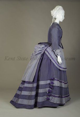 Purple day dress  American, ca. 1870  Silk taffeta  Collection of the Kent State University Museum KSUM 1983.1.118a-d