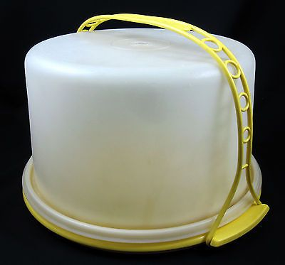 Tupperware-Vintage-Round-Tall-Cake-Saver-Carrier-Yellow-Base-and-Handle