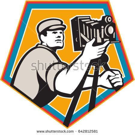 Illustration of a cameraman movie director with vintage movie film camera viewed from low angle set inside shield crest on isolated background done in retro style.  #photographer #retro #illustration