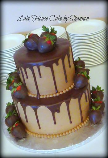 2 tiered Chocolate Groom's Cake Chocolate Covered Strawberries Chocolate Ganache' Chocolate Buttercream Lake House Cake by Shannon