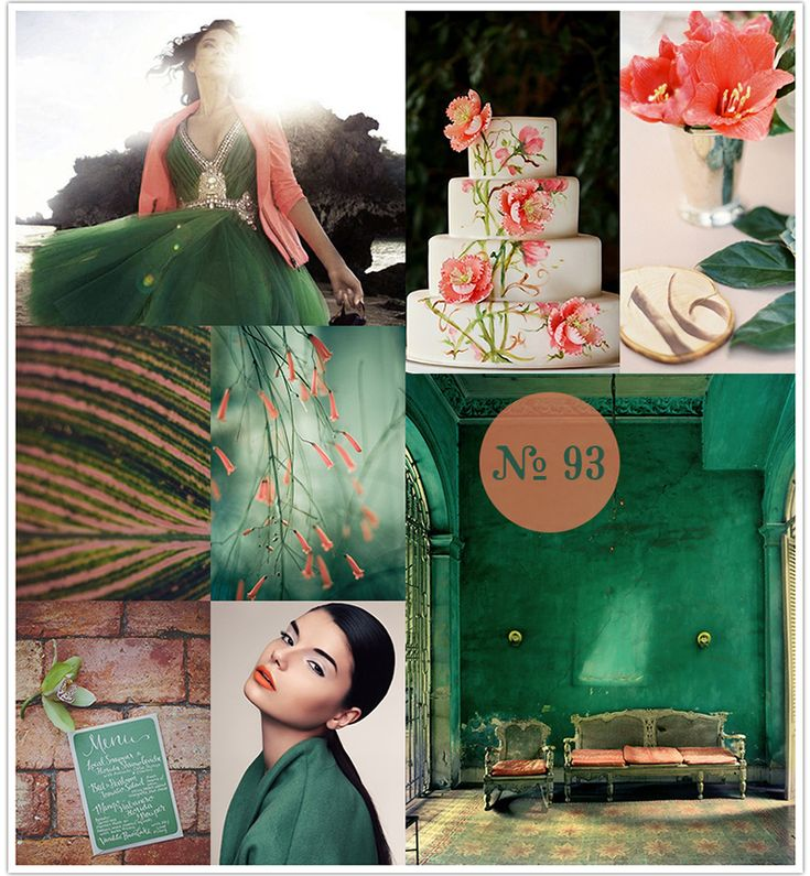 Forgotten Paradise Emerald and Coral Wedding Inspiration Board