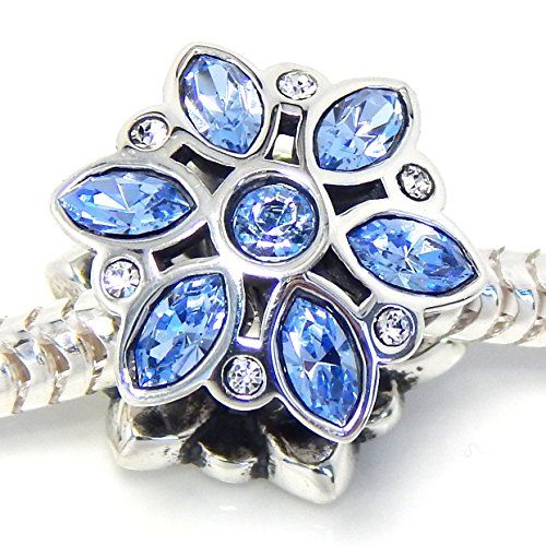 """925 Sterling Silver """"Snowflake with Blue Cubic Zirconia Stones"""" Charm Bead Fits PANDORA Charms http://www.amazon.com/dp/B00P45A9RK/ref=cm_sw_r_pi_dp_0wzdwb0N3D2DX"""