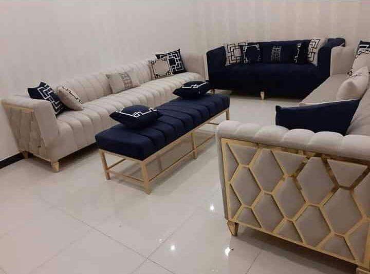 كنب جلسات ستائر جديد وتنجيد تفصيل بحسب الطلب اسعارنا مناسبه للجميع تٱثيث فندقي مكتبي منز Teal Living Rooms Furniture Simple Sofa