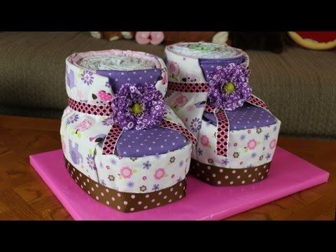DIY Diaper Cake Baby Booties for Baby Shower -