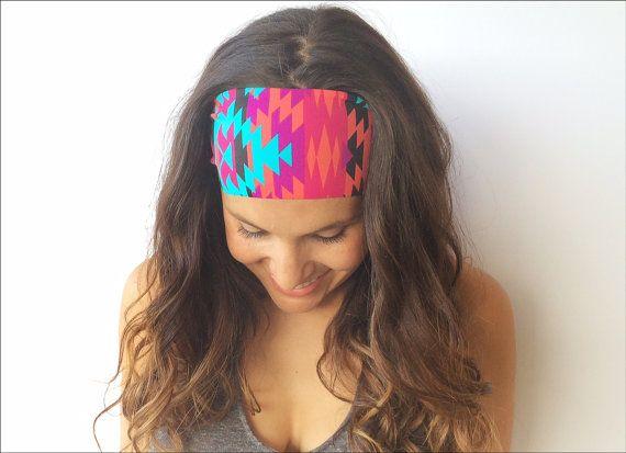 Tribal Bright Yoga Headband, Workout Headband, Running, Fitness, Nonslip, Crossfit, Printed Womens Headband