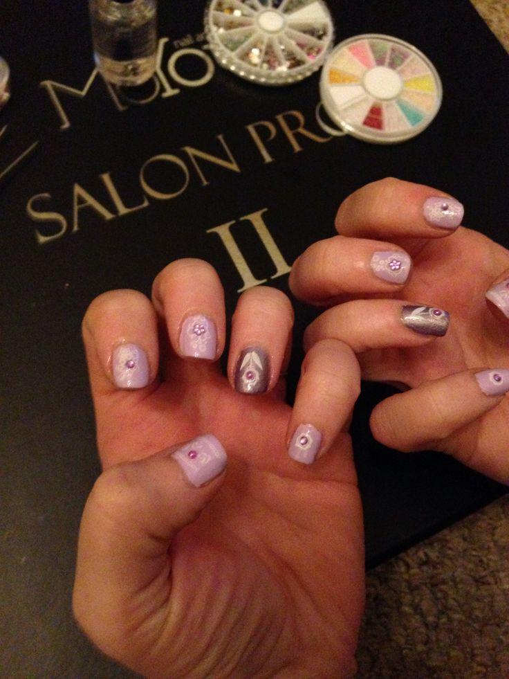 Lilac Floral Nail Art